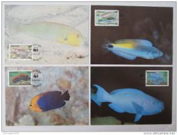 Maxikarty Grenada 1984 Ryby, WWF 010 Mi# 1299-1302