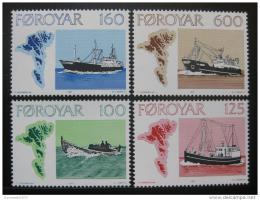 Poštovní známky Faerské ostrovy 1977 Rybáøské lodì Mi# 24-27