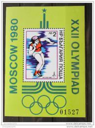 Poštovní známka Bulharsko 1979 LOH Moskva Mi# Block 96