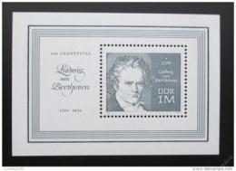 Poštovní známka DDR 1970 Ludwig van Beethoven Mi# Block 33