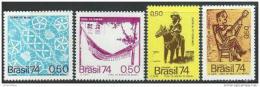 Poštovní známky Brazílie 1974 Brazilské umìní Mi# 1454-57 Kat 12€