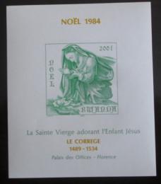 Poštovní známka Rwanda 1984 Vánoce, vzácné neperf. Mi# Bl 102 B