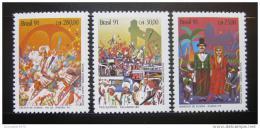Poštovní známky Brazílie 1991 Karnevaly Mi# 2399-2401