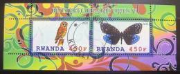 Poštovní známky Rwanda 2011 Motýl a sova, Fauna