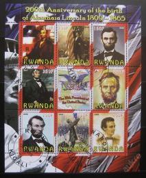 Poštovní známky Rwanda 2009 Prezident Abraham Lincoln