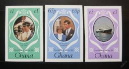 Poštovní známky Ghana 1981 Královská svatba neperf. Mi# 895-97 B