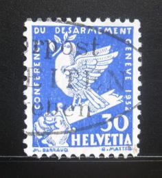 Poštovní známka Švýcarsko 1932 Holub na meèi Mi# 253