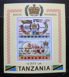 Poštovní známky Tanzánie 1981 Královská svatba Mi# Block 24
