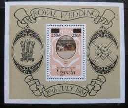 Poštovní známka Uganda 1981 Královská svatba, pøetisk Mi# Block 27