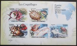 Poštovní známky Komory 2011 Mušle neperf. Mi# 2959-63 B Bogen
