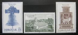 Poštovní známky Faerské ostrovy 1989 Kostel Havnar Mi# 179-81