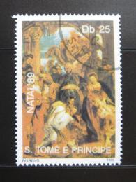 Poštovní známka Svatý Tomáš 1989 Umìní, Rubens Mi# 1154
