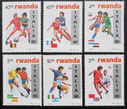 Poštovní známky Rwanda 1990 MS ve fotbale, pøetisk Mi# 1433-38