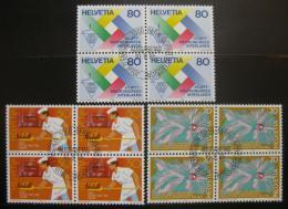 Poštovní známky Švýcarsko 1985 Výroèí, ètyøbloky Mi# 1301-03 Kat 10€