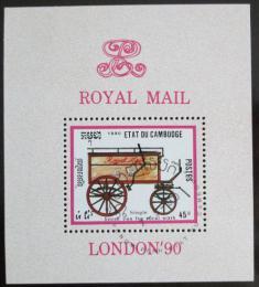 Poštovní známka Kambodža 1990 Dostavník Mi# Block 172