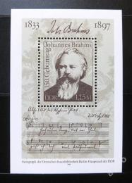 Poštovní známka DDR 1983 Johannes Brahms Mi# Block 69