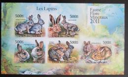 Poštovní známky Komory 2011 Králíci neperf. Mi# 3048-52 B Bogen