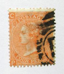 Poštovní známka Velká Británie 1865 Královna Viktorie SC# 43, desky è. 11 Kat $65