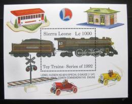 Poštovní známka Sierra Leone 1992 Modely vlakù Mi# Block 204