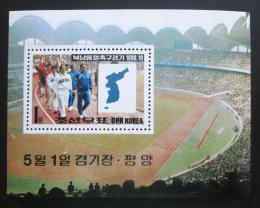 Poštovní známka KLDR 1990 Fotbalový zápas Mi# Block 259