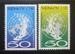 Poštovní známky Surinam 1995 Výroèí OSN Mi# 1521-22 Kat 6.50€