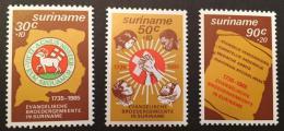 Poštovní známky Surinam 1985 Evangelická bratrstvo Mi# 1154-56