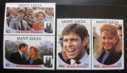 Poštovní známky Svatá Lucie 1986 Královská svatba Mi# 848-51