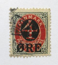 Poštovní známka Dánsko 1904 Nominální hodnota pøetisk Mi# 40 Z