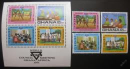 Poštovní známky Ghana 1971 Asociace mladých žen Mi# 439-42 + Block 43