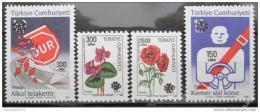 Poštovní známky Turecko 1990 Doprava, kvìtiny Mi# 2894-97 Kat 15€