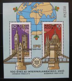 Poštovní známky Maïarsko 1989 Meziparlamentní unie Mi# Block 202
