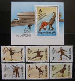 Poštovní známky Maïarsko 1988 MS v krasobruslení Mi# 3946-51 + Block 195