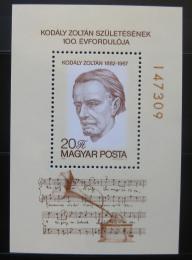 Poštovní známka Maïarsko 1982 Zoltán Kodály, skladatel Mi# Block 160