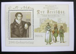 Poštovní známka DDR 1986 Carl Maria von Weber, skladatel Mi# Block 86