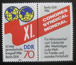 Poštovní známky DDR 1986 Kongres odborù Mi# 3049
