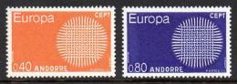 Poštovní známky Andorra Fr. 1970 Evropa CEPT Mi# 222-23 Kat 20€