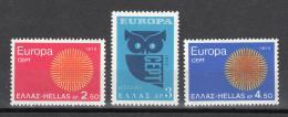 Poštovní známky Øecko 1970 Evropa CEPT Mi# 1040-42