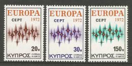 Poštovní známky Kypr 1972 Evropa CEPT Mi# 374-76