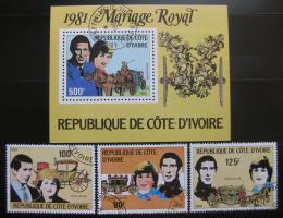 Poštovní známky Pobøeží Slonoviny 1981 Královská svatba Mi# 688-90 + Block 18