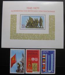Poštovní známky DDR 1970 Výroèí osvobození Mi# 1569-71 + Block 32