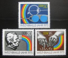 Poštovní známky DDR 1975 Svìtový rok Braille Mi# 2090-92