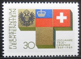 Poštovní známka Lichtenštejnsko 1969 Telegraf, 100. výroèí Mi# 517