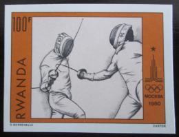 Poštovní známka Rwanda 1980 LOH Moskva, šerm neperf. Mi# 1049 B Kat 9€