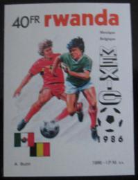 Poštovní známka Rwanda 1986 MS ve fotbale neperf. Mi# 1344 B