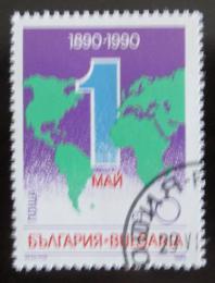 Poštovní známka Bulharsko 1990 Den práce, mapa svìta Mi# 3836