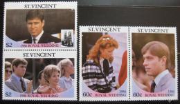 Poštovní známky Svatý Vincenc 1986 Královská svatba Mi# 970-73