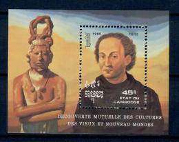 Poštovní známka Kambodža 1990 Objevení Ameriky Mi# Block 180