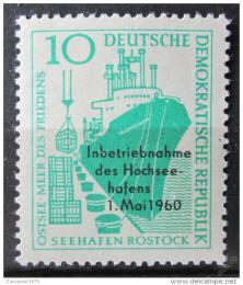 Poštovní známka DDR 1960 Pøístav Rostock pøetisk Mi# 763