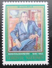 Poštovní známka OSN Vídeò 1987 Trygve Lie, norský politik Mi# 68
