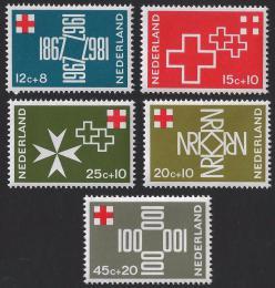 Poštovní známky Nizozemí 1967 Èervený køíž Mi# 883-87